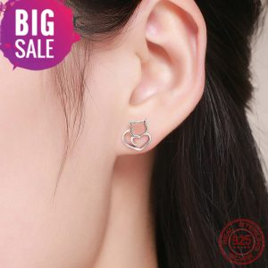 cat earrings studs