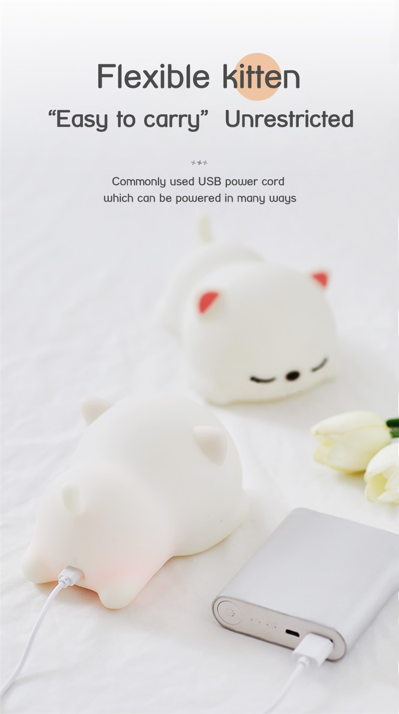 USB Rechargeable Night Light Cat Silicone Night Lights Touch Sensor Bedroom Bedside Lamp With Remote For Kids Baby Gift
