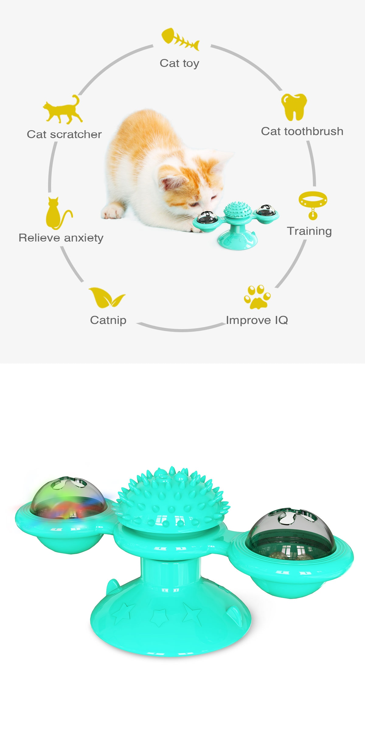 Rotatable windmill Cat Toys With Catnip LED Ball Teeth Cleaning