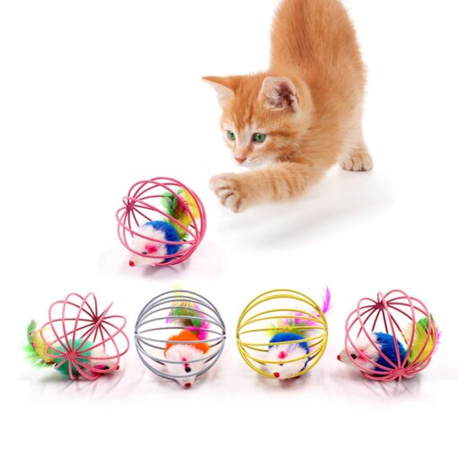 cat toy ball with mouse